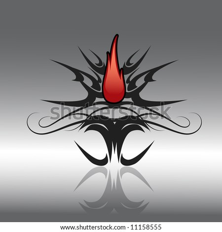 vector illustration of tribal tattoo with red flames in center and reflection