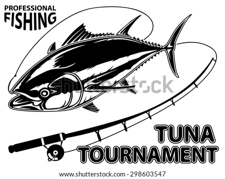 Vector illustration of tuna tournament. Vector illustration can be used for creating logo and emblem for fishing clubs, prints, web and other crafts