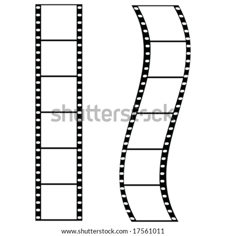 Vector illustration of two strips of film: one straight and one curved. For jpeg version, please see my portfolio.