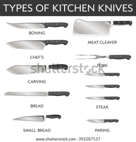 names of kitchen knives vector clip types kitchen knives stock vector 20924