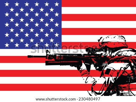 Vector illustration of US marine in front of the USA flag