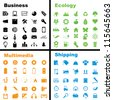 Vector illustration of various business, ecology, multimedia and shipping icons. - stock photo