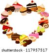 vector illustration of various cakes and chocolates shaped into a heart isolated on white. - stock vector