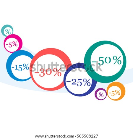 Vector  illustration of various discounts for markets and shops. Label for shop. Seasonal sales during the year.