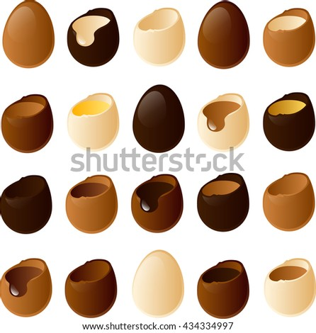 Vector illustration of various easter chocolate eggs.