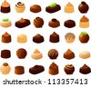 Vector illustration of various filled chocolates. - stock photo