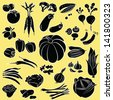 vector illustration of  vegetables collection in black and white - stock