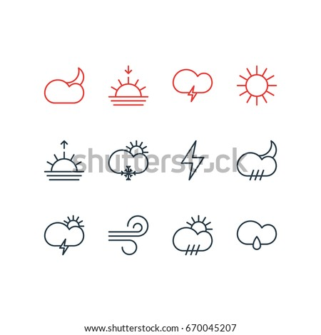 Sun Moon Icons Mono Vector Symbols 283373096