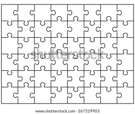 Jigsaw Puzzle Blank Template 6x8 Elements Vector 322894076 – Blank Puzzle Template