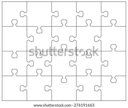 20 jigsaw puzzle blank template cutting stock vector for Puzzle cut out template