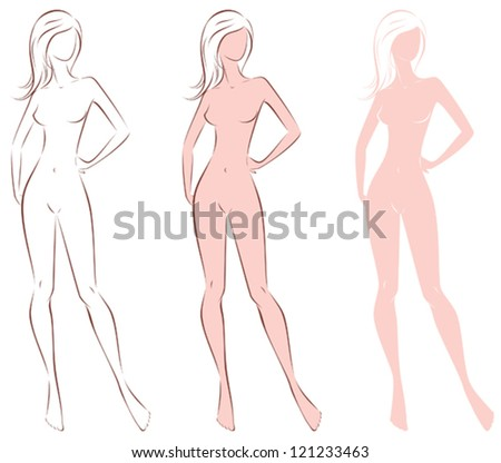 Vector illustration of woman's silhouette with long hair. Three options