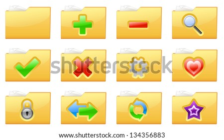 Vector illustration of yellow interface folder management and administration icons