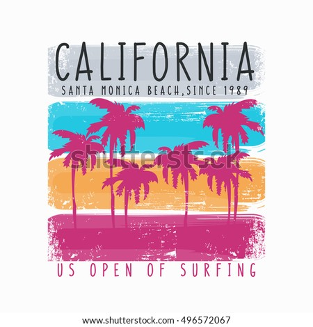 Vector illustration on the theme of surf and surfing in California, Santa Monica beach.  Vintage design. Grunge background. Typography, t-shirt graphics, poster, banner, flyer, print, postcard