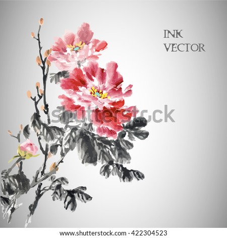 Vector illustration.Peony Flower,Traditional chinese ink painting.