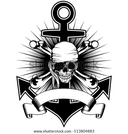 Vector illustration pirate insignia skull in bandana with crossed bones and anchor