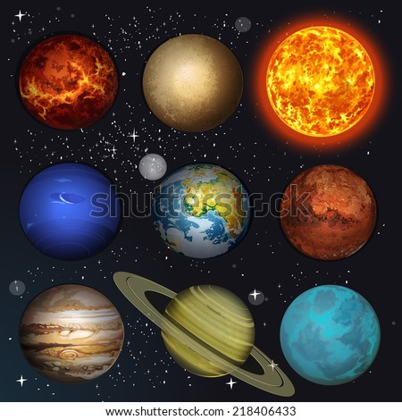 Vector illustration planets Solar system and sun on stars background