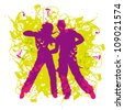 Vector illustration purple silhouette dancing couple on abstract background - stock vector
