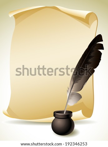 Vector illustration - Quill Pen with inkwell and paper scroll