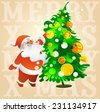 vector illustration Santa Claus with glasses decorates a Christmas tree - stock vector