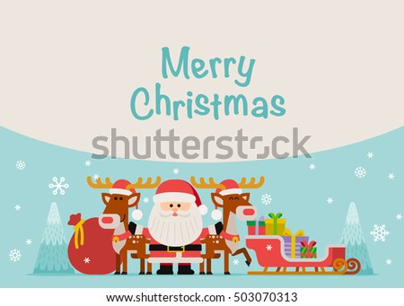Vector illustration - Santa With Reindeer