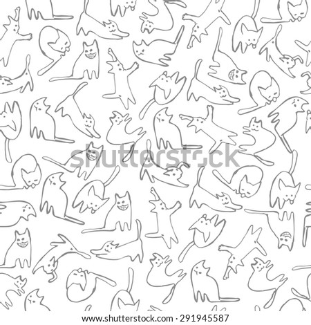 Vector Illustration. Seamless pattern with funny cats.