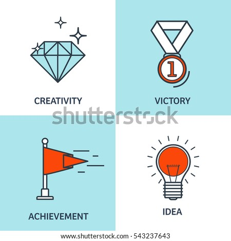 Vector illustration set. Flat business concept backgrounds with icons, lines. Achievements, mission. Aims,new ideas. Smart solutions. Travelling. Lined,outline.