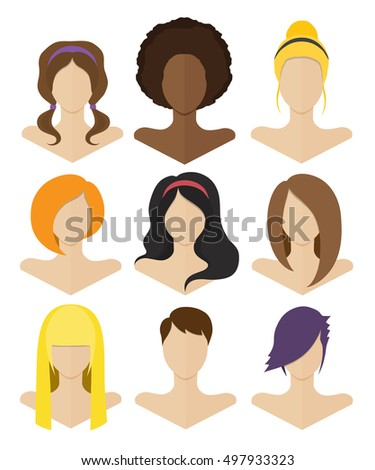 Awe Inspiring Vector Set Woman Hair Styles Stock Vector 339327692 Shutterstock Hairstyles For Men Maxibearus