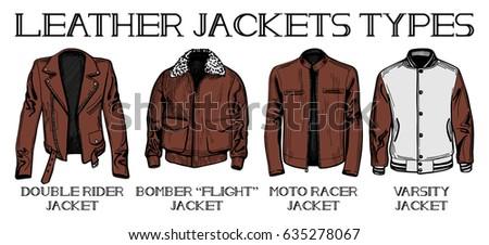 Vector Illustration Jackets Types Suit Jacket Stock Vector ...