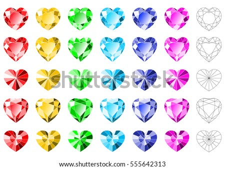Vector illustration set of multi-colored various heart cut diamonds with wireframe diagrams