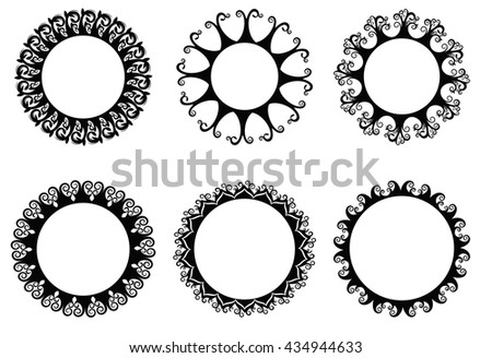 Vector illustration set of 6 round banner with floral ornaments