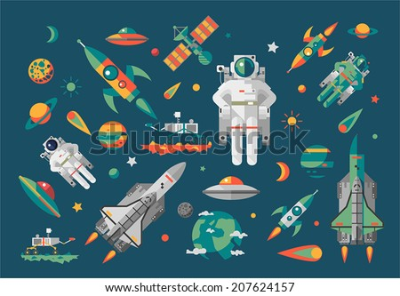 Vector illustration set on space. Flat.