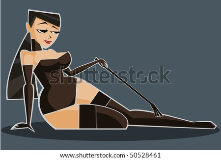 Vector illustration: sexy girl in lingerie with crop.