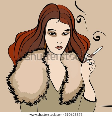 vector illustration sketch of a girl image with red flowing coat with a fur collar