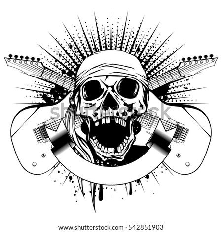 Skull Crossing Revolvers Banner Stock Vector 251859343