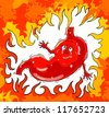 Vector Illustration, Stomach disorders-burning, pain, ache, heartburn - stock