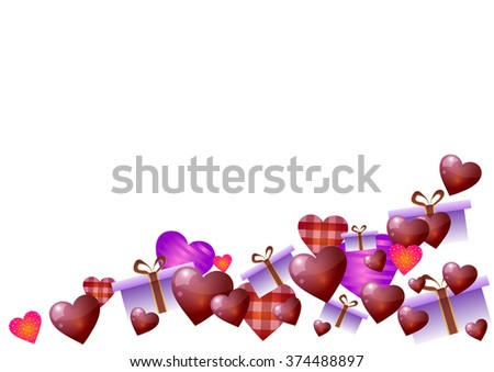 Vector illustration. Valentines Day. Hearts and gifts on white background.