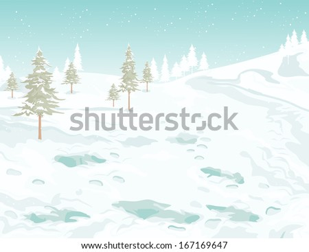 Vector illustration, winter postcard, card concept.