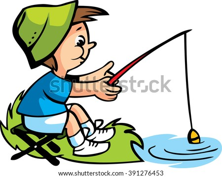 vector illustration with boy fishing