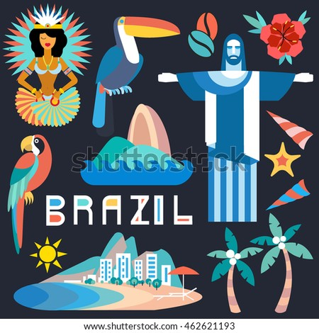 Vector illustration with Brazil symbols. Travel concept with main country attractions and sights. Flat style with modern geometric lettering.