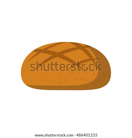 Vector illustration with cartoon isolated round bread icon on white background. Vector cartoon pastry, bakery shop icon. Healthy breakfast food. Fresh, organic bread icon. Cartoon style