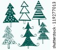 Vector illustration with christmas trees - stock vector