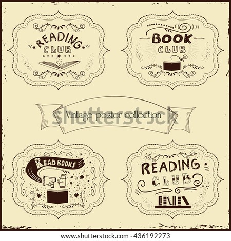 Vector illustration with hand-drawn lettering. Inscription book club for invitation and greeting card, promo, prints, flayer, cover, and poster. Vintage design.