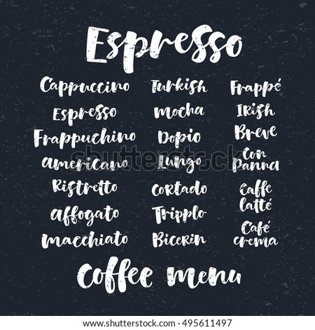 Vector illustration with handwritten chalk lettering. Graphic elements for coffee shop, market, cafe design, restaurant menu and recipes. Coffee types and brewing methods