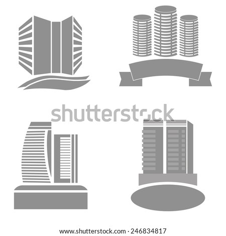 Vector Illustration  with Real Estate Icons Isolated on White Background