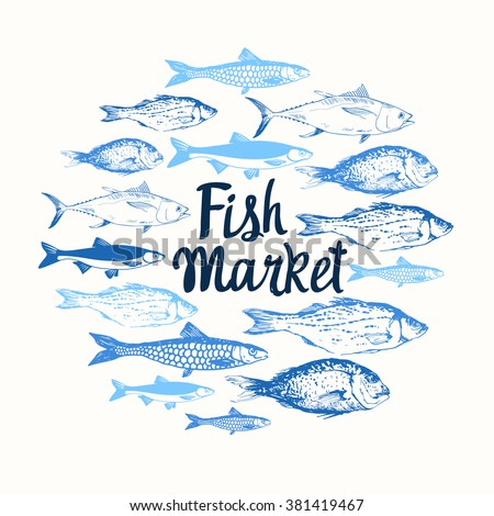 Vector illustration sketches fish round composition stock for White river fish market menu