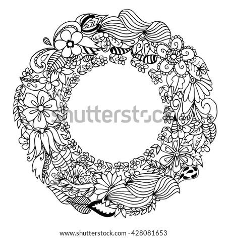 Drawing Christmas Advent Natural Wreath Stock Vector