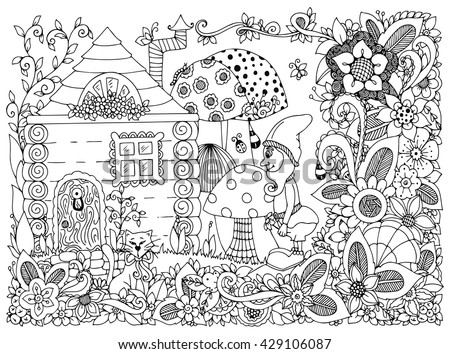 Vector Illustration Zen Tangle Gnome And A House Doodle Flowers Cat Garden