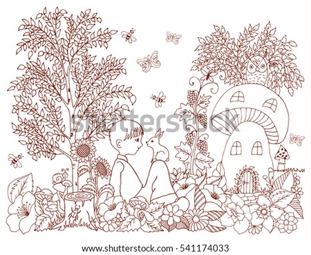 Vector Illustration Zentangl Fox Mushroom House Stock