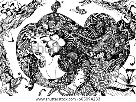 Beautiful Art Fabric Batik Pattern Black Stock Photo