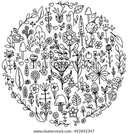 Vector Set Doodle Flowers Stock Vector 102847001